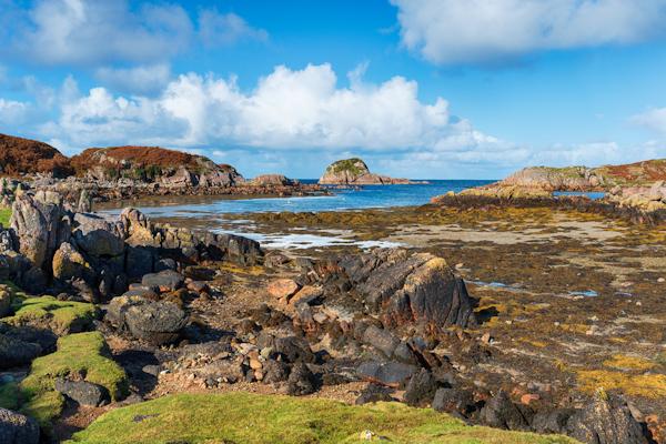 Rugged granite coastline at Kintra